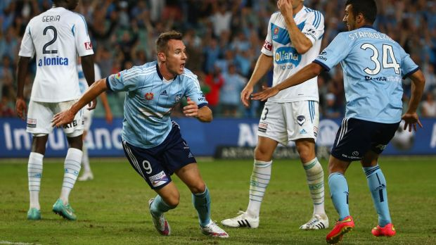 Shane Smeltz celebrates his second goal against Melbourne Victory.
