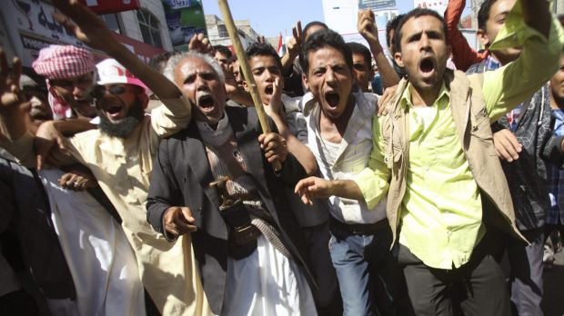 Anti-Houthi protesters in the south-western Yemeni city of Taiz at the weekend.