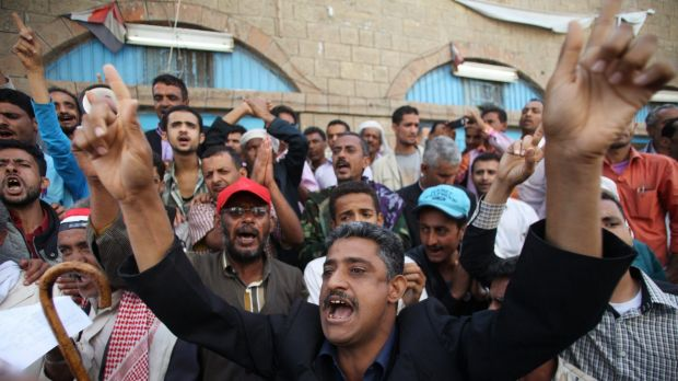 Anti-Houthi protesters during a demonstration against the Shi'ite Muslim militia group in the south-western Yemeni city ...