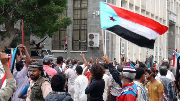 Supporters of the separatist Southern Movement gather in the city of Aden on Sunday to protest against the Shi'ite ...