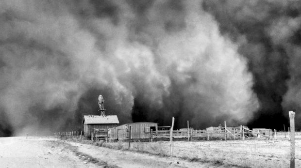 Dustbowl conditions in the 1930s.