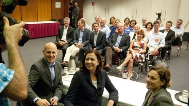 Premier Annastacia Palaszczuk with the Labor Caucus before she announced her new ministry.