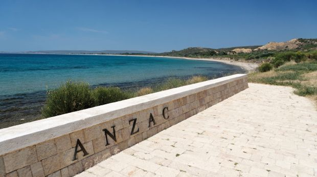 The North Beach commemorative site before vandals stole the letters ANZAC.