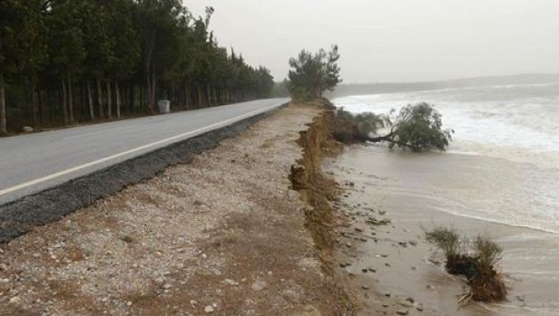 Some of damage caused by storms around Anzac Cove.