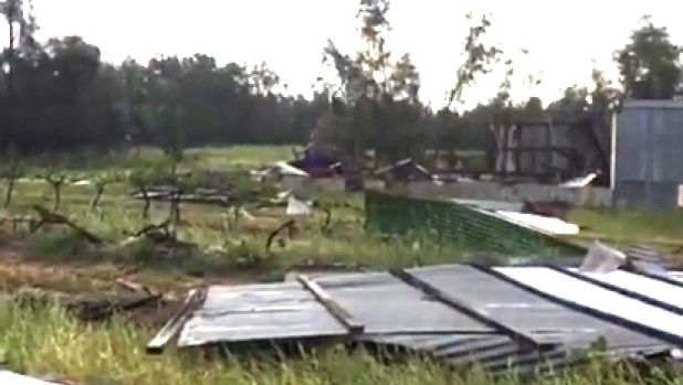 The twister damaged vines and an equipment shed at a vineyard in the Hunter Valley.