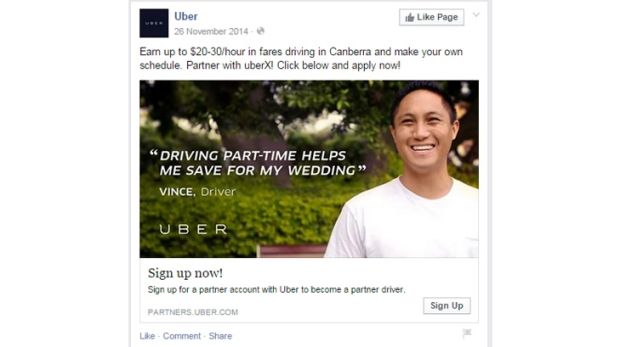 An Uber ad for Canberra drivers on Facebook.