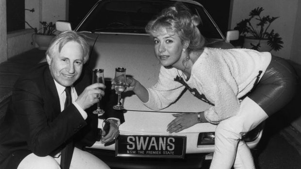 Glory days: Geoffrey Edelsten and Leanne toast buying the Sydney Swans licence in August 1986.
