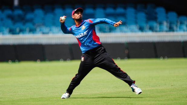 Bangladesh cricketer Mohamad Mahmudullah during training at Manuka Oval on Monday before they clash with Afghanistan on ...