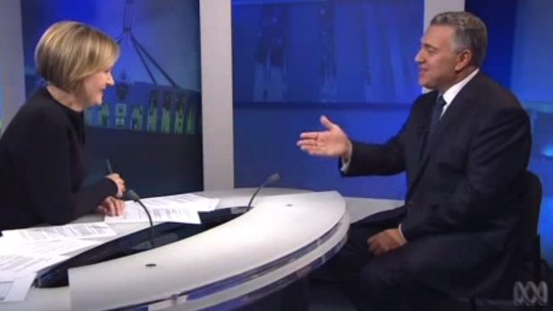 A screen grab shows Sarah Ferguson interviewing Treasurer Joe Hockey on <i>7.30</i> after the release of his first budget.