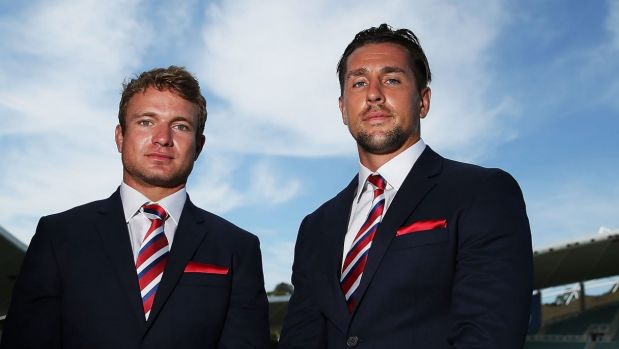 Ready to lead: Mitchell Pearce and Jake Friend will co-captain the Roosters.