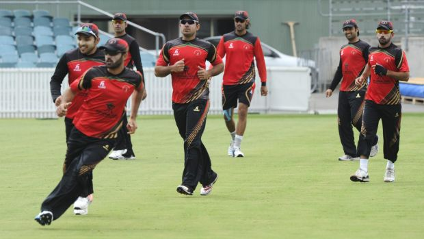 The Afghanistan World Cup cricket team at their training session on Manuka Oval on Monday.