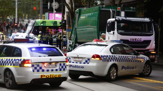 The scene of the early-morning fatality on Collins Street.