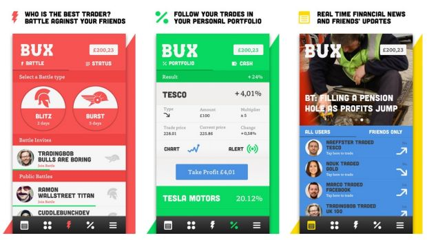 BUX, an app for iPhone that lets users predict whether stock will rise or fall, features both virtual and real ...