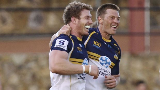 David Pocock, left, with Clyde Rathbone during their time at the Brumbies.