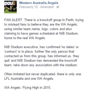 The extract from the WA Angels Facebook page, querying the legitimacy of the new mooted Perth team.