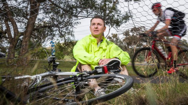 Cyclist Darren Jones was knocked off his bike by a kangaroo while riding on the bike path that runs parallel to Bindubi ...