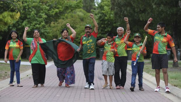 Members of Canberra's Bangladeshi community gear up for the World Cup match at Manuka Oval. From left, Fabia Afnan, ...