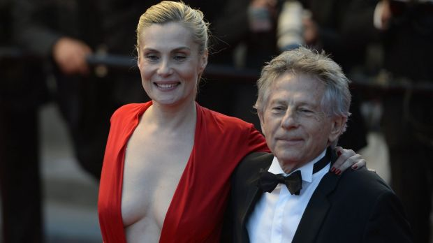 Director Roman Polanski and his wife Emmanuelle Seigner after the screening of his film Venus in Fur at the 2013 Cannes ...