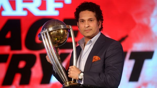 Sachin Tendulkar holds the ICC Cricket World Cup  2011 trophy during a promotional event  in Mumbai on February 7.