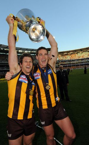 Celebrating his 2008 Premiership win with team mate Trent Croad.