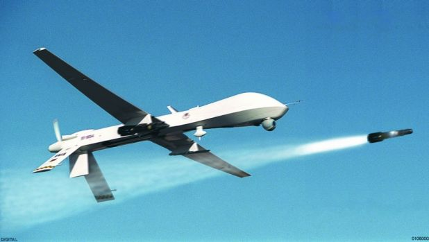 An unmanned Predator drone fires a missile. A suspected US drone strike has killed Islamist commander Jalal Baleedi as ...