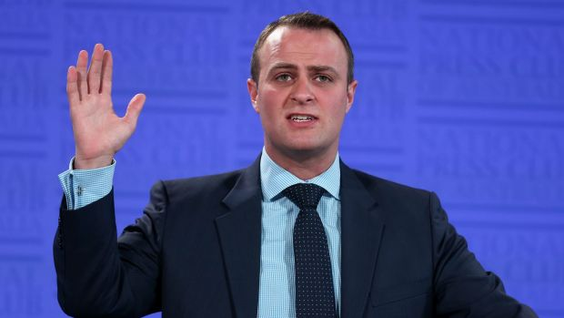 Human Rights Commissioner Tim Wilson addresses the National Press Club of Australia on Wednesday.