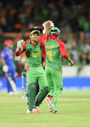 Bangladesh wicketkeeper Rahim Mushfiqur celebrates his side's win.