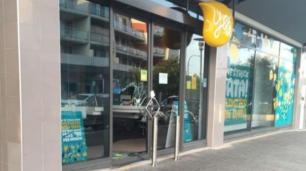 The Optus store in Gungahlin which was broken into.