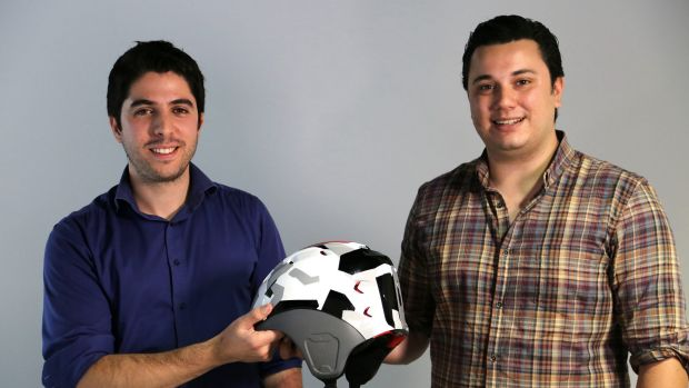 George Constantinos and Alfred Boyadgis, co-founders of Forcite Helmet Systems, with the Alpine helmet.