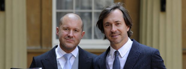 Sir Jonathan Ive (left) with his knighthood, and his friend Australian designer Marc Newson with his Commander of the ...