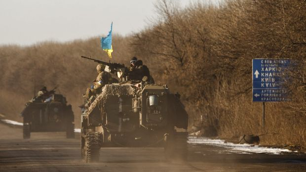 Ukrainian troops pulling out of Debaltseve.