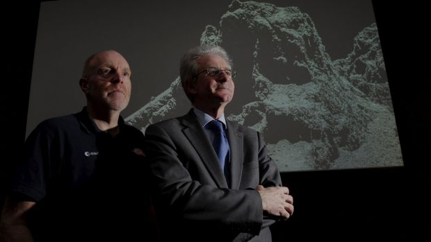 Dr Paolo Ferri, Head of Missions Operations with the European Space Agency's Rosetta mission at right, with senior ...