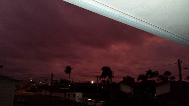 The sky turned red in Mackay as Tropical Cyclone Marcia approached on Thursday night.