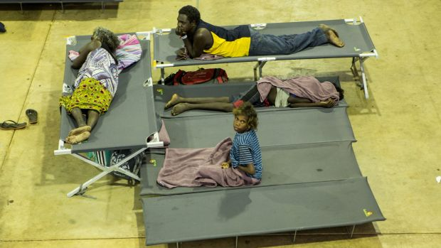 Residents of Warruwi on Goulburn Island at a temporary shelter after the entire community was evacuated.