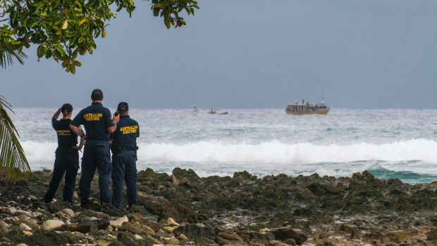 A boat spotted carrying Sri Lankan asylum seekers off Cocos Island in 2012.