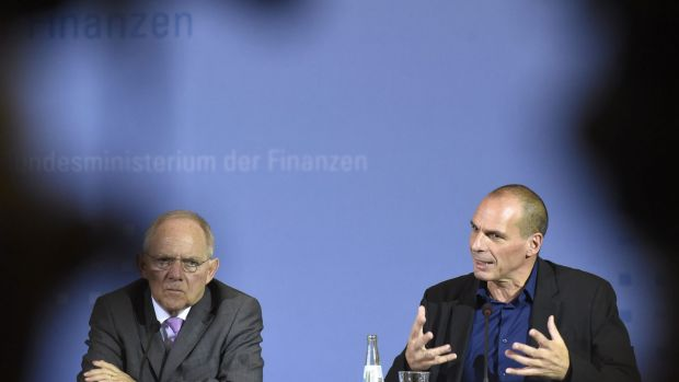 Greece's Finance Minister Yanis Varoufakis and his German counterpart Wolfgang Schaeuble in Berlin.