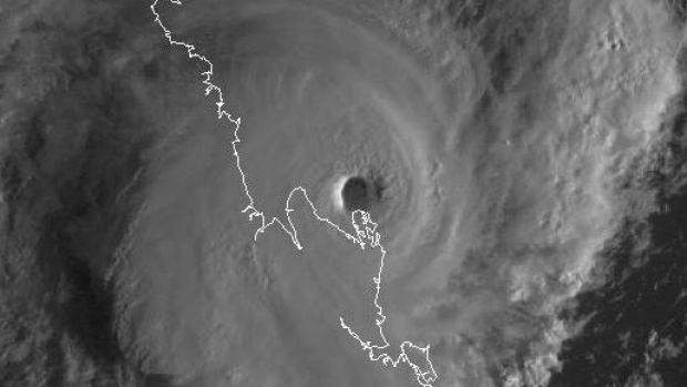 The intense eye of Cyclone Marcia as it neared the Queensland coast.