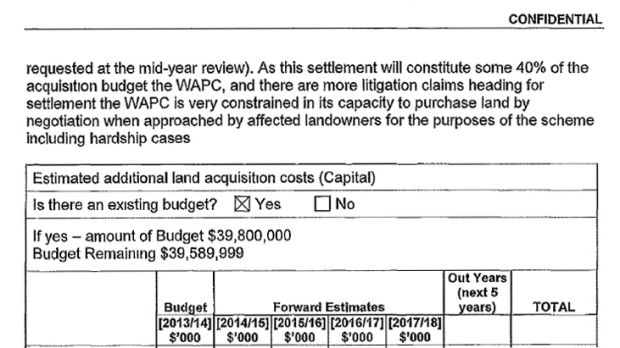 """An extract from the FOI document outlining the WAPC's """"constrained capacity to purchase land by negotiation""""."""