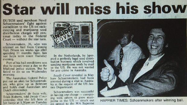 A photo of the <i>West Australian</i> of August 2, 1991, reporting Nevil Schoenmakers' disappearance.