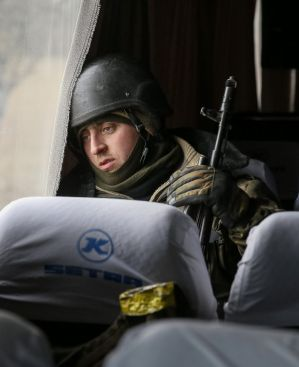 A Ukrainian serviceman who fought in Debaltseve on a bus  near Artemivsk on Wednesday.