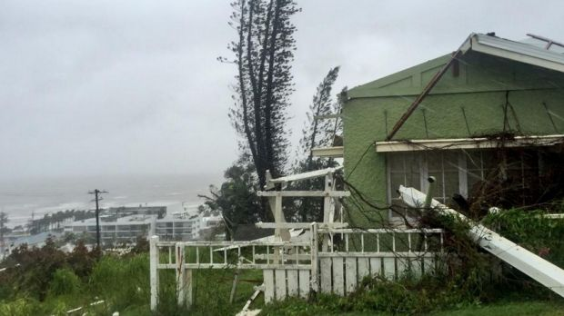 Homes in Yeppoon damaged by Tropical Cyclone Marcia.