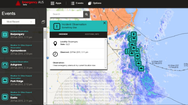 Emergency AUS: Observations from Queenslanders are overlaid with real-time mapping from the Bureau of Meteorology as ...