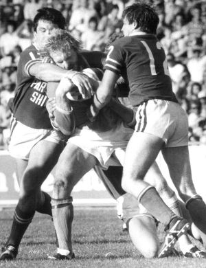 Canberra prop John McLeod on the rampage against Newton at Seiffert Oval on April 18, 1982. The Raiders won 12-11 to ...