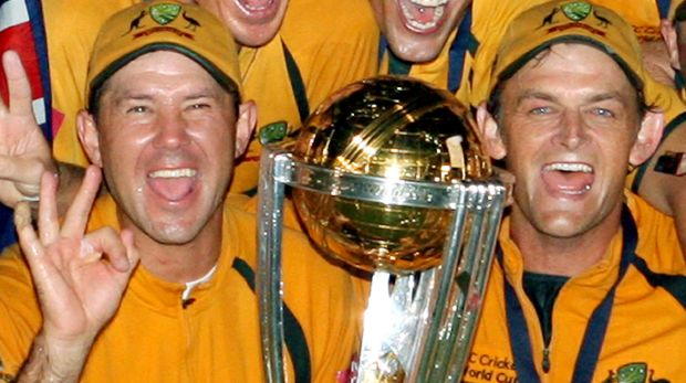 Ricky Ponting and Adam Gilchrist pose with the 2007 World Cup trophy at Kensington Oval in Bridgetown.