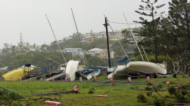 Washed away boats sit on the ground after Tropical Cyclone Marcia hit the coastal town of Yeppoon.