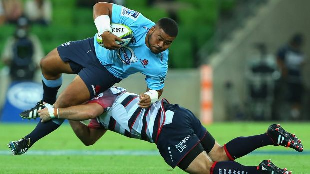 Fast learner: Tolu Latu of the Waratahs in Super Rugby action against the Rebels.