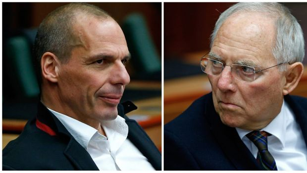 Four-month finance extension ... Greek Finance Minister Yanis Varoufakis (left) and German Finance Minister Wolfgang ...