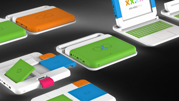 The XO-Infinity: A silicon case is peeled off to allow children to change parts as required.