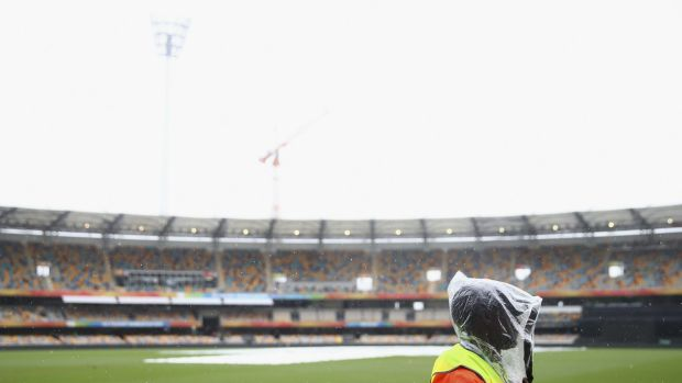A general view of covers on the pitch as rain caused the abandonment of Australia's match with Bangladesh.