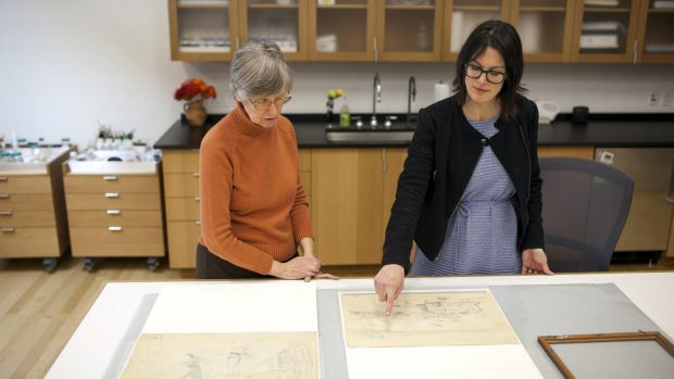 Barbara Buckley, from the Barnes Foundation, and 19th-century art expert Martha Lucy, with the two previously unknown ...